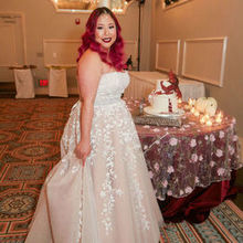 Photo for Satin Chair Rental - Wedding & Event Decor Chicago-Naperville Review - They provided the burgundy table cloth & lace flower overlay