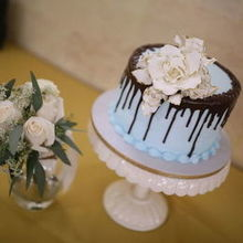 Photo of Milan Catering and Event Design in Sarasota, FL - Our Wedding Cake ROCKED! Chocolate Drip & Orange Flavor.