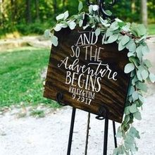Photo of Oak & Honey Events in Sagamore Hills, OH - Our welcome sign inspired by Melanie's design