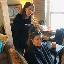 Photo of Naviina Salon & Day Spa in Wells, ME - The big day and  Lauren working her magic.