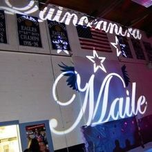 Photo of DJ KYD and Company in Quincy, MA - Maile's personalized projected monogram