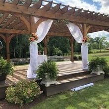 Photo of Rizzo's Malabar Inn in Crabtree, PA - Pergola prepped for outdoor ceremony.