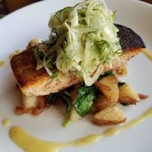 Photo for Jedediah Hawkins Inn Review - Pan Seared King Salmon, Fennel Slaw. Perfectly cooked.